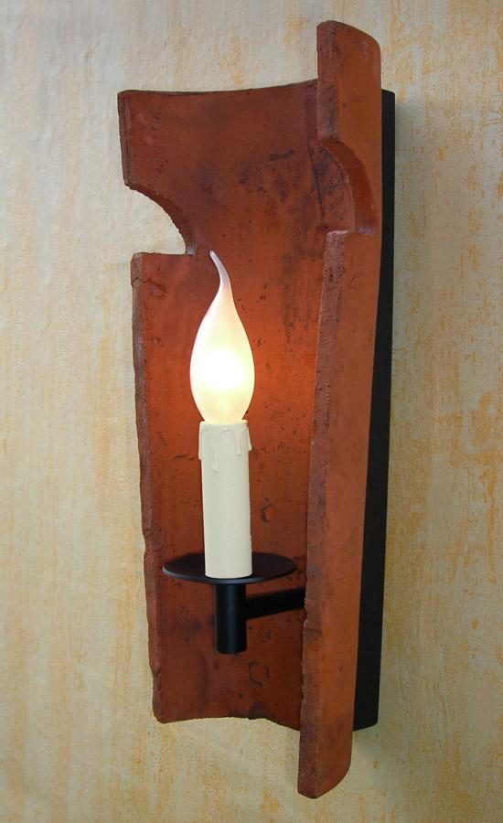 Dachziegel wandleuchte kerze wandlampe rustikal - Dachziegel wandleuchte ...