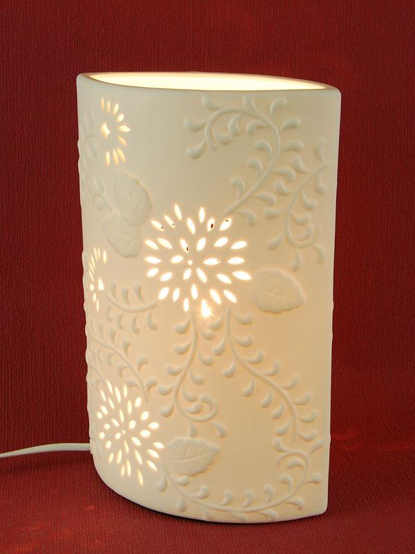 ovale porzellan tischlampe tischleuchte 28 cm hoch mit bl ten motiv ebay. Black Bedroom Furniture Sets. Home Design Ideas